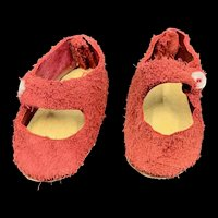 Cute Vintage Pair of Red Suede Shoes for a Small Doll