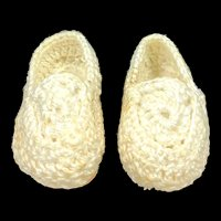 Vintage Cream Crocheted Doll Shoes