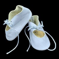 Vintage Pale Blue Leather Hand Made Doll Shoes