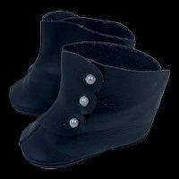 Vintage Pair Black Doll Boots