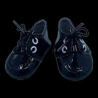 Vintage Pair of New Black Doll Shoes