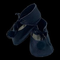 Lovely Vintage Hand Made Leather Doll Shoes