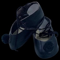 Vintage Pair Hand Made Leather Doll Shoes with Pom Poms