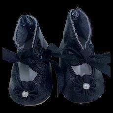 Vintage pair Black Doll Shoes