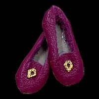 Miniature Pair Red Leather Doll Shoes