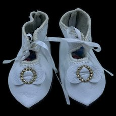 Beautiful Vintage Hand Made Leather Doll Shoes