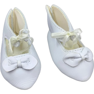 Lovely Pair Vintage Leather Doll Shoes