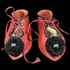 Beautiful Pair Vintage Red Leather Doll Shoes