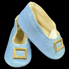 Lovely Vintage Pale Blue Fabric Doll Shoes