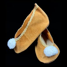 Large Pair of Vintage Suede Doll Shoes