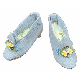 Lovely Vintage Pair of Heeled Pale Blue Shoes for a Fashion Doll