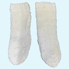 Pair white cotton knitted doll socks