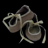 Small Pair Vintage Leather Doll Shoes