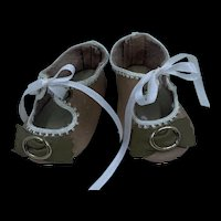 Beautiful Pair of Vintage Hand Made Leather Doll Shoes