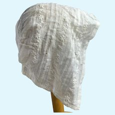 Stunning Antique Finely Embroidered Baby Bonnet for Large Doll