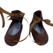Vintage Pair of Brown Leather Doll Shoes