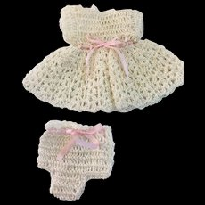 Cream Crocheted Doll Dress & Pants for Small or All Bisque