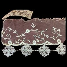 5 x Antique Lace Pieces for Doll Costuming