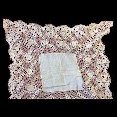 Antique Maltese Lace Wedding Hankerchief