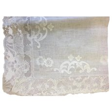 Beautiful Piece of  Antique Shadow Embroidery & Lace Linen