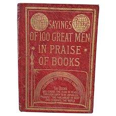 "Vintage Miniature Book ""Sayings of 100 Great Men in Praise of Books"""