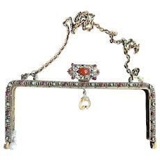 Stunning Vintage Purse Handle Embellished with Jewels