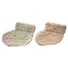Lovely Pair of Large Crocheted Doll Socks or Booties