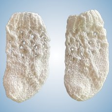 Small Pair of White Cotton Knitted Doll Socks