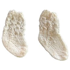 Vintage Pair Cotton Knitted Doll Socks