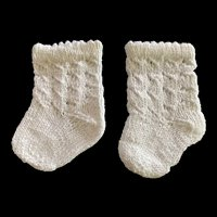 Large Pair Knitted White Doll Socks