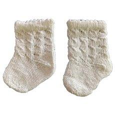 Large Pair Knitted White Doll Socks