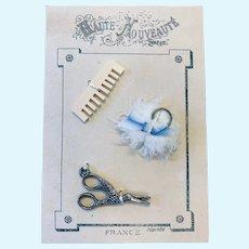 """Nouveauté Paris"" Doll Accessory Card with Powder Puff, Comb & Scissors - Artist Made"