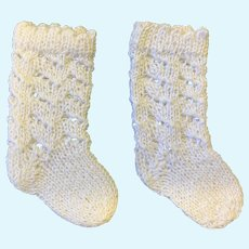 Large Pair Knitted White Cotton Doll Socks