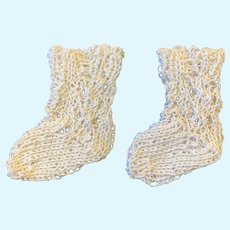 Finely Knitted White Cotton Doll Socks