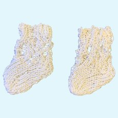 Small Pair Finely Knitted Doll Socks