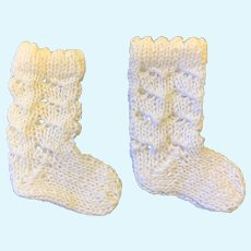 White Cotton Knitted Doll Socks