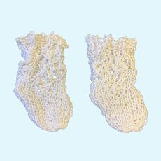 Finely Knitted Cream Cotton Socks for a Small Doll
