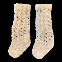 Very Large Pair Cotton Knitted Doll Socks