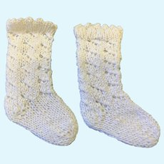 Large Pair White Cotton Knitted Doll Socks
