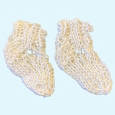 Tiny Pair Finely Knitted Cream Cotton Doll Socks