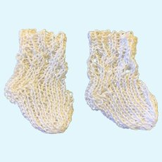 Small Pair White Knitted Doll Socks