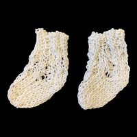 Small Finely Knitted White Cotton Doll Socks