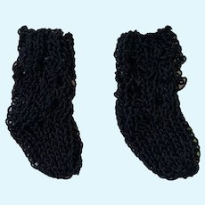 Small Pair Finely Knitted Black Doll Socks