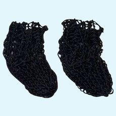 Pair of Fine Knitted Black Doll Socks