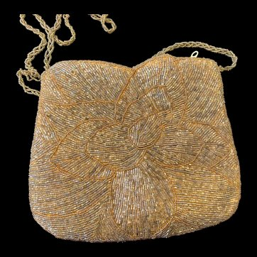 Vintage Gold Glass Beaded Purse with Floral Design