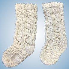 Lovely Cream Knitted Doll Socks
