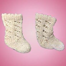 Cream Knitted Doll Socks