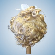 "Vintage Blonde Mohair Doll Wig 11-12"""