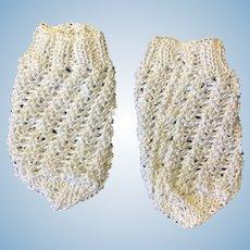 Lovely White Knitted Doll Socks