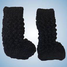 Lovely Pair Black Knitted Doll Socks